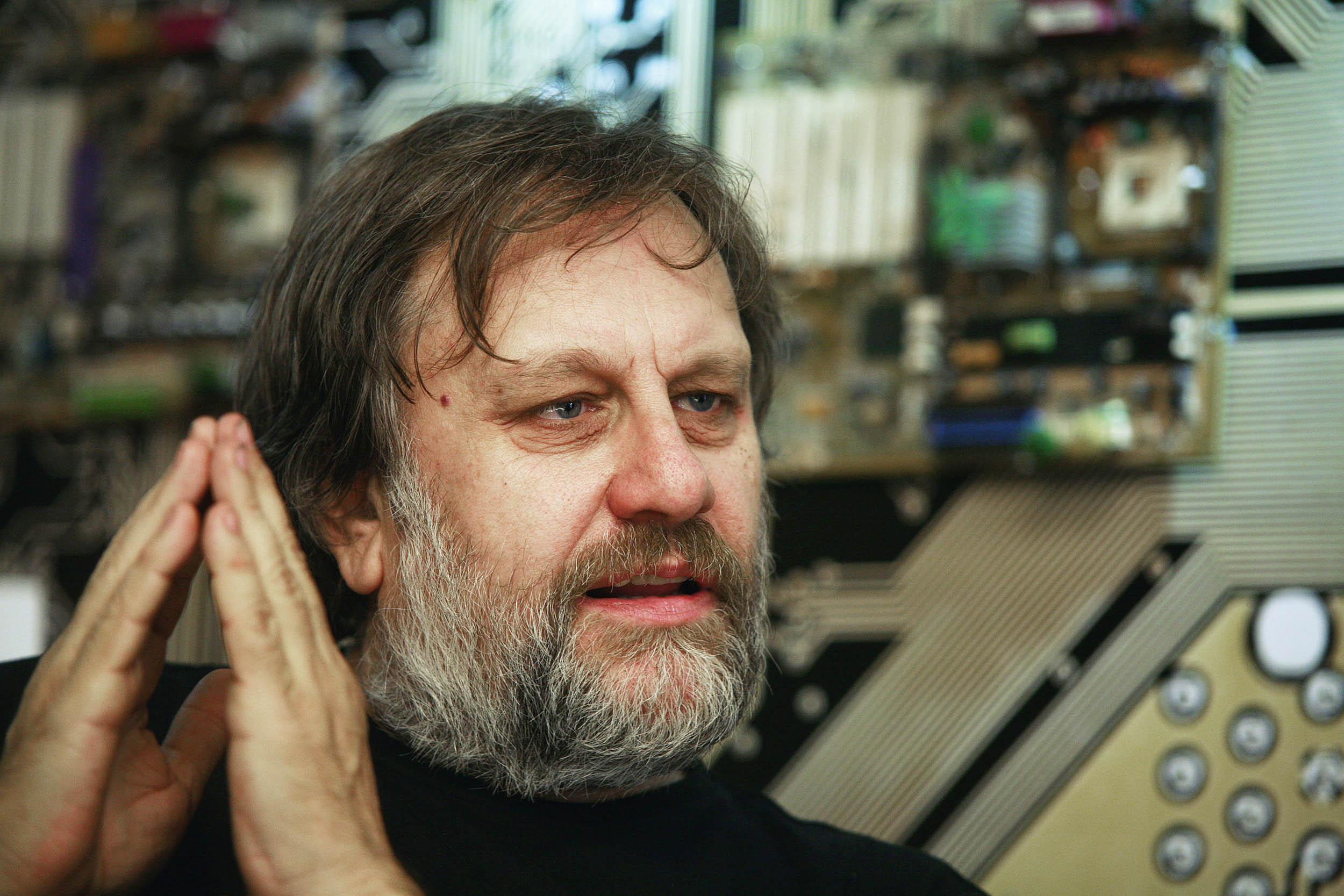 05 Dec 2009, Istanbul, Turkey --- Istanbul, Turkey. 5th December 2009 -- Slavoj Zizek is a Slovene philosopher and cultural critic. He is a senior researcher at the Institute for Sociology and Philosophy, University of Ljubljana, Slovenia, international director of the Birkbeck Institute for the Humanities. --- Image by © Sahan Nuhoglu/Demotix/Corbis